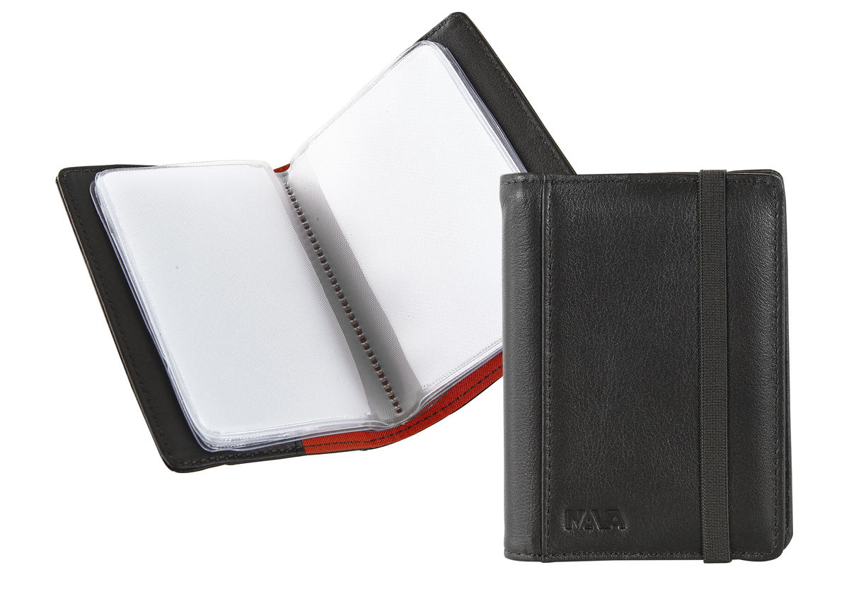 pocket business card holder with elastic closure  smooth  nava