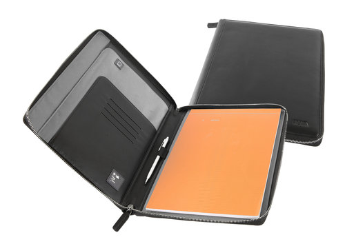 SmoothLeather A4 notepad portfolio with zipper
