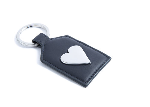 "Smooth Leather ""heart"" key ring"