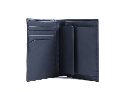 Smooth Men's vertical wallet, 5 credit card slots & coin pocket