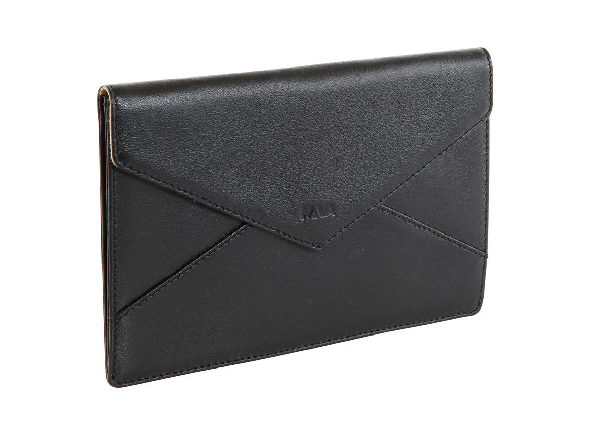 Leather pouch with pressure button closure