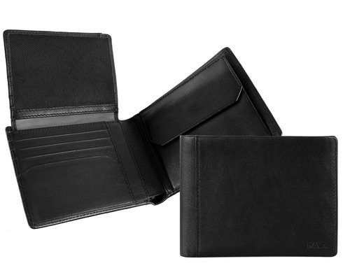 Smooth Men's wallet with flap, 7 credit card slots & coin pocket