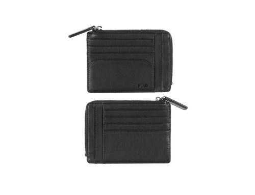 Smooth Men's wallet/card holder, w/6 credit card slots & zipper