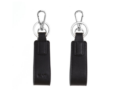 Smooth Leather key fob with steel ring