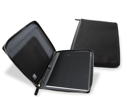 Smooth Leather A4 notepad portfolio with zipper