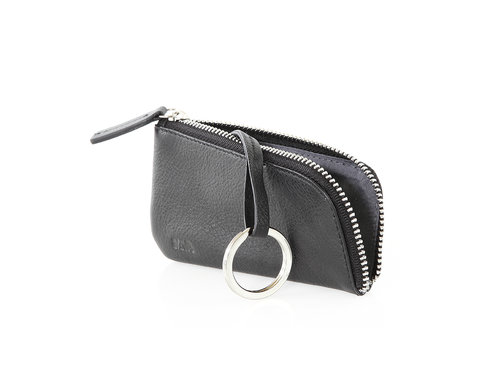 Smooth Leather key holder with zipper and case
