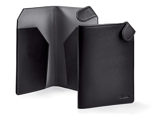 Smooth Leather passport holder with snap closure