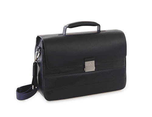 Passenger Leather Briefcase two compartments with handle and removable strap