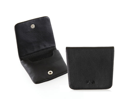 Smooth Leather coin purse with snap closure