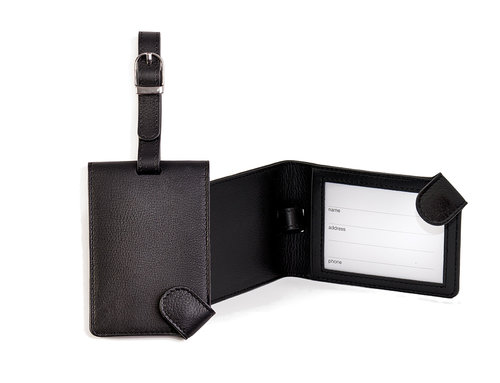 Smooth Leather luggage tag with strap and snap closure