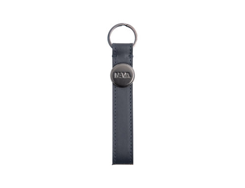 Metric Leather keychain with ring and logo engraved on metal plate